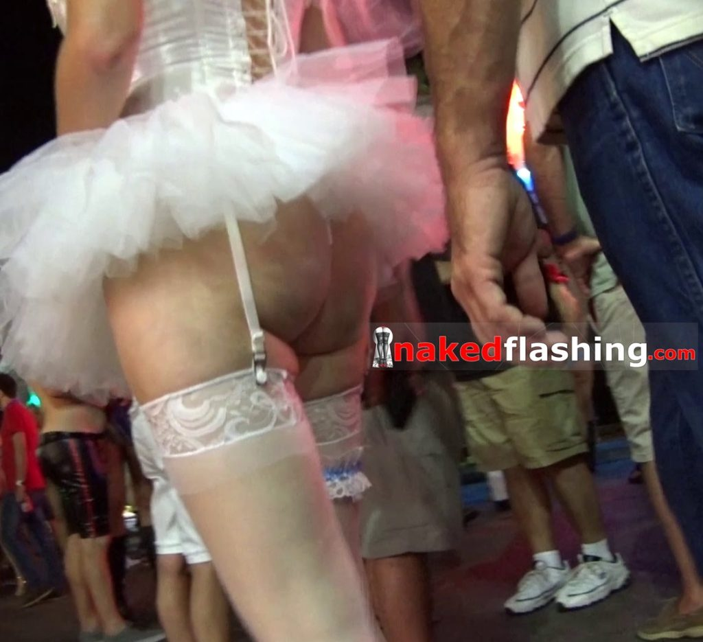 Upskirt ballerina milf in party